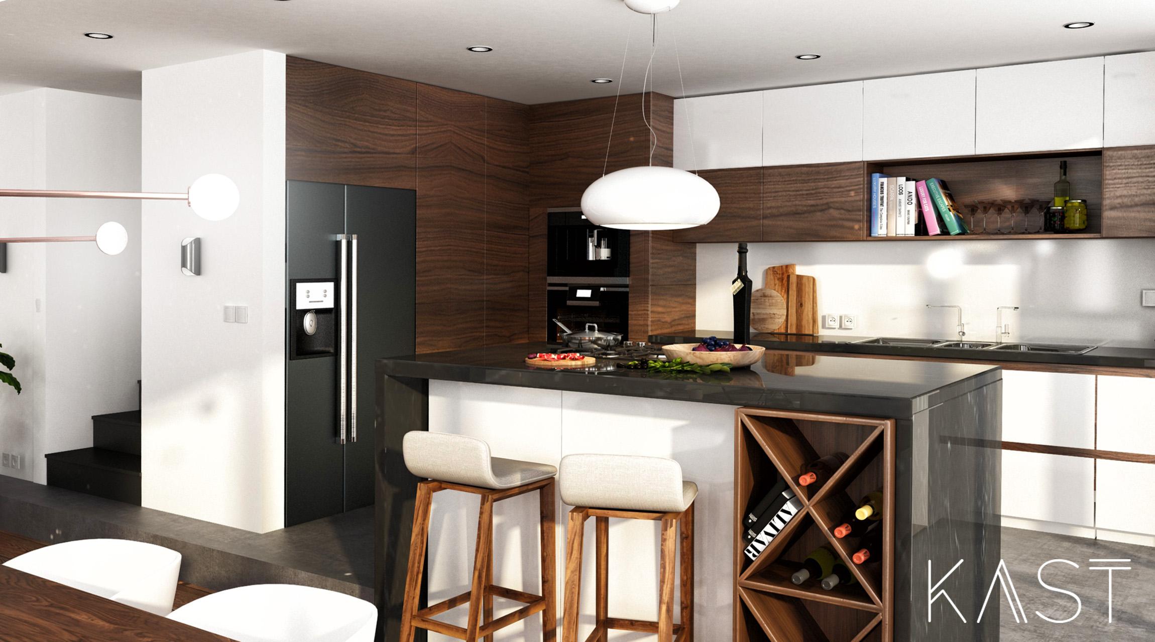 Maison bois b ton meudon kast design for Maison bois design
